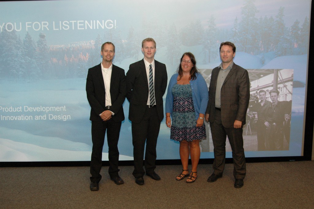 Peter Thor (2nd left) with supervisors Åsa Ericson and Tobias Larsson and external discussion leader Erik Sundin (left)