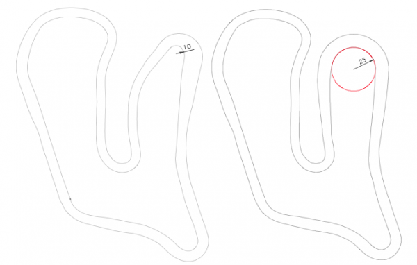 Initial track and new track with banked curve