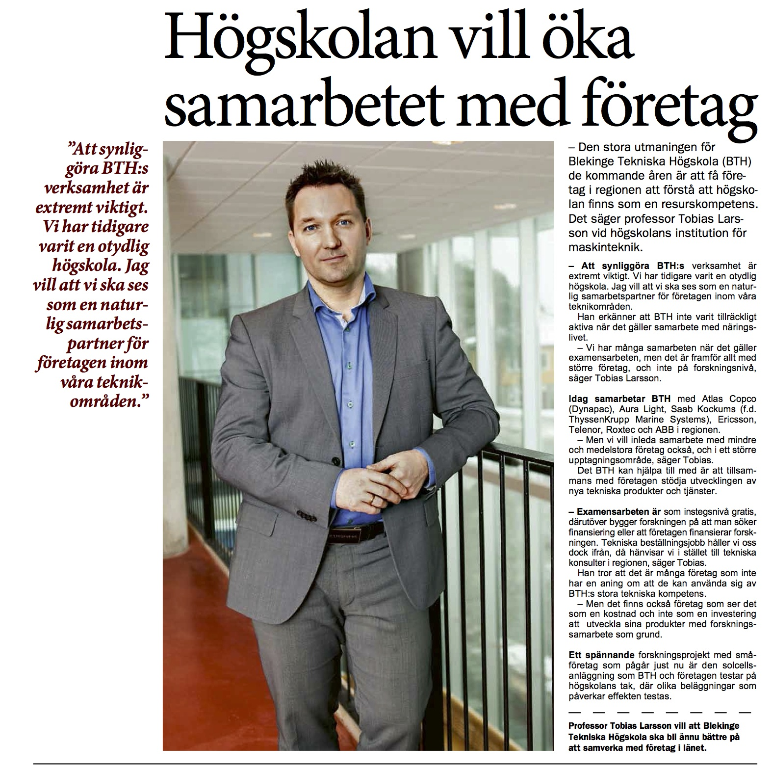 Tobias Larsson om Näringslivsdagen och BTH